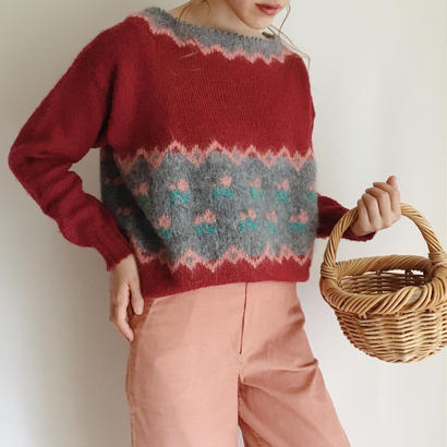 eurovintage flower pattern knit sweater