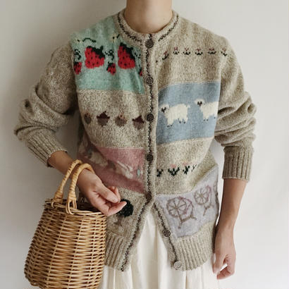 USA 80's Wool Rich Country Pattern Knit Cardigan