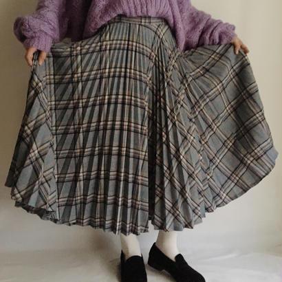 eurovintage plaid pleats circular skirt