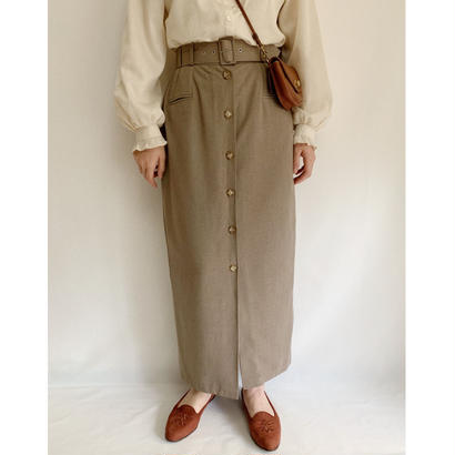 Euro Vintage  Front Button Long Skirt With Belt