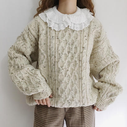 Euro Vintage Mix Color Over Slhouette Knit Sweater