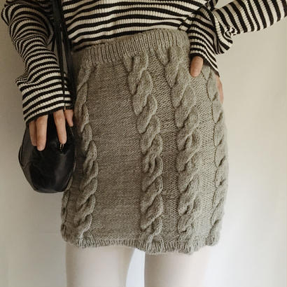 eurovintage cable hand knit skirt