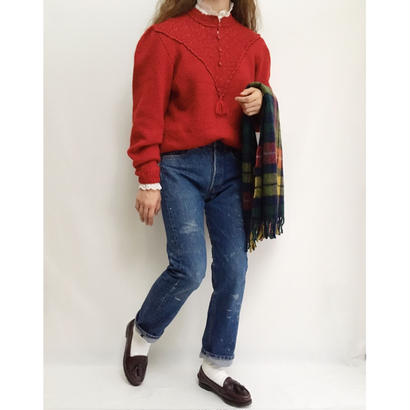 Euro Vintage Stand Collar Knit Sweater