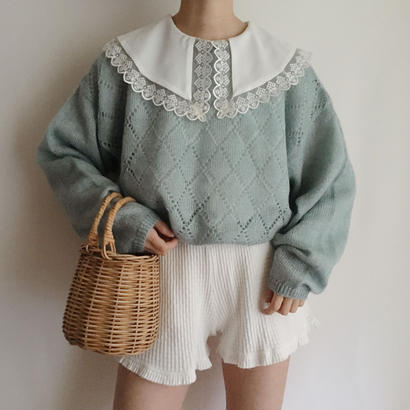 eurovintage pale blue lame mix open work knit sweater