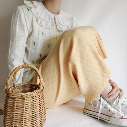 Euro  Vintage Pastel Yellow cotton knit long skirt