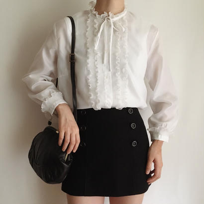 euro vintage stand color frill blouse