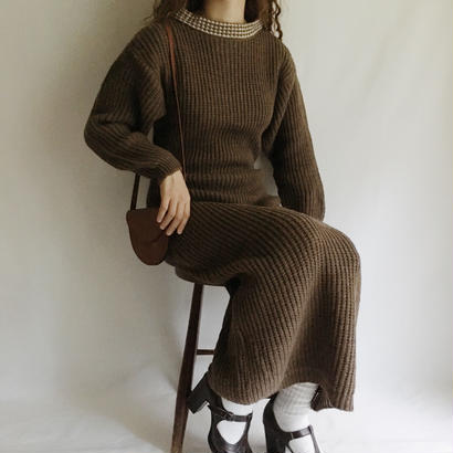 GERMANY 80's Brown Knit Long Dress