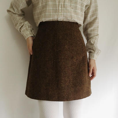 French 80's Brown Wool Mini Skirt