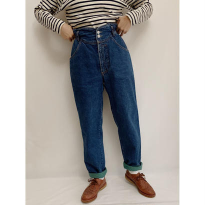 80s Euro Vintage Cotton Flannel lining Tapered Denim Pants