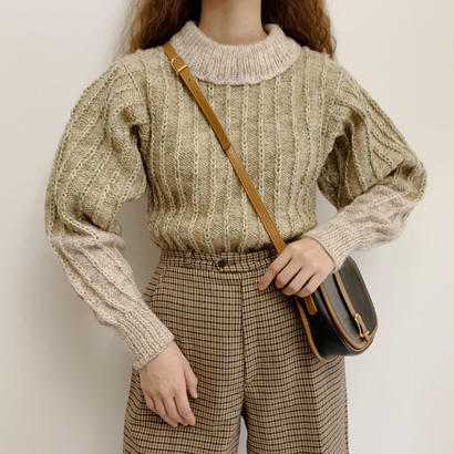 Euro Vintage Mix Color Hand Knit Sweater