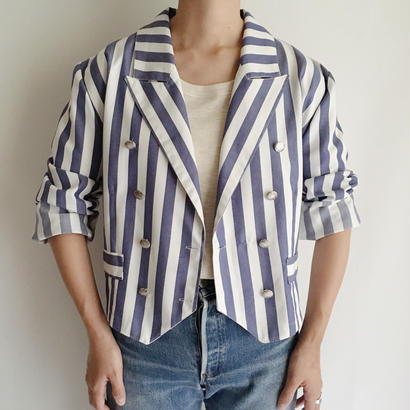 Euro Vintage Stripe Double Breasted Short Jacket