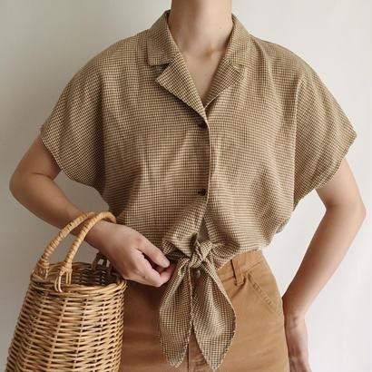 Euro Vintage Brown  Gingham Check  Short Shirt