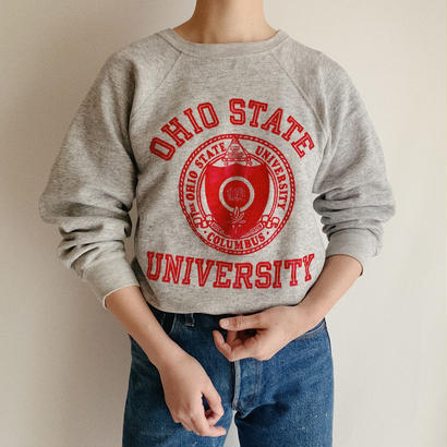 "USA 80's "" Champion "" College Logo Flock Print Sweat Shirt"