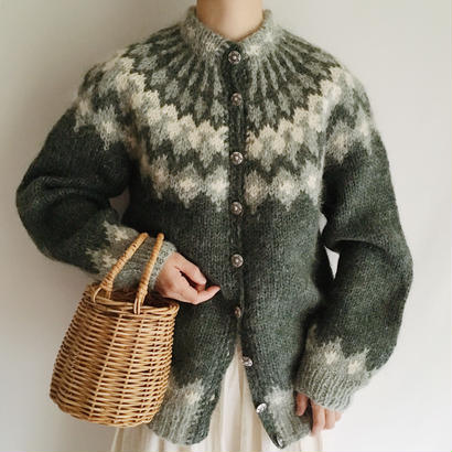 Euro Vintage Dusky Green Nordic Knit Cardigan