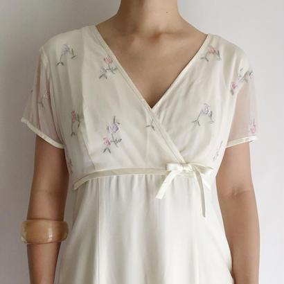 USA Flower Embroidery Long Dress