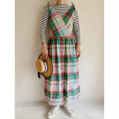 India Cotton Madras check Sleeveless Cotton Long Dress