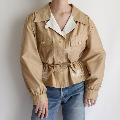 Euro Vintage  Waist  Ribbon Short Jacket