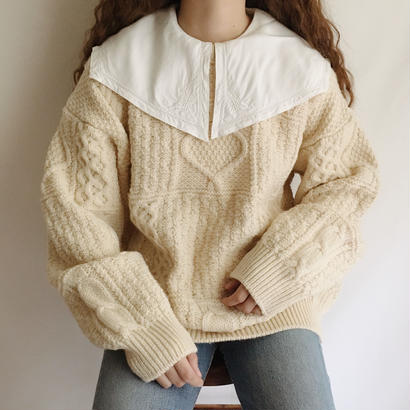 80's Irish Volume Sleeve Cable Knit Sweater