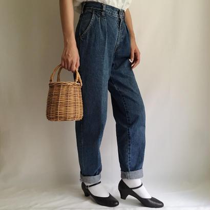 USA Two Tuck Tapered High Waist Denim Pants