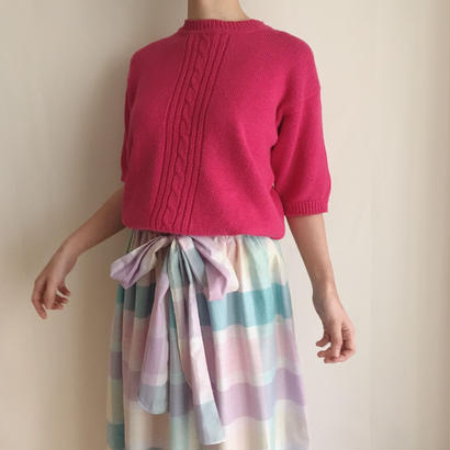 raspberry pink half sleeve knit tops