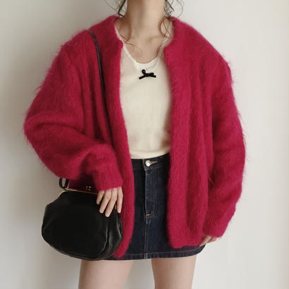 eurovintage hot pink mohair knit cardigan
