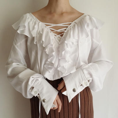 eurovintage  lace up ruffle blouse