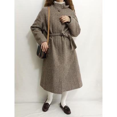 Euro Vintage Stand Collar Mohair Mix Long Coat