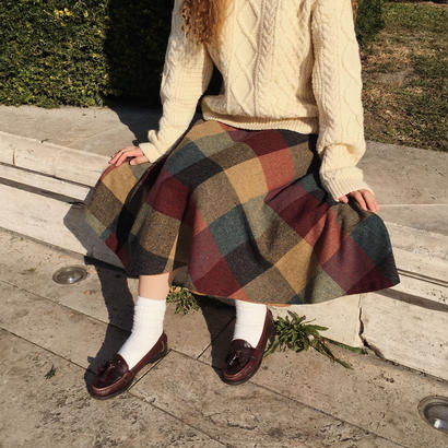 Euro Vintage 70's Big Block Check Flare Skirt