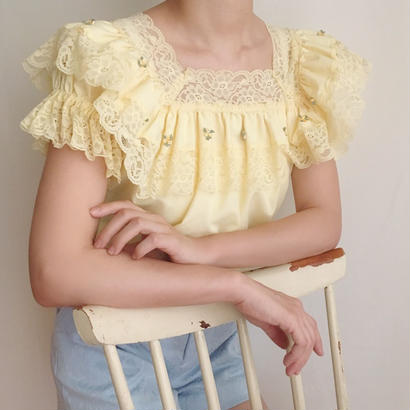 pale yellow lace  frill blouse