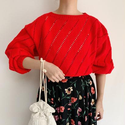 Euro  Vintage Open Work Volume  Sleeve Spring Knit Sweater
