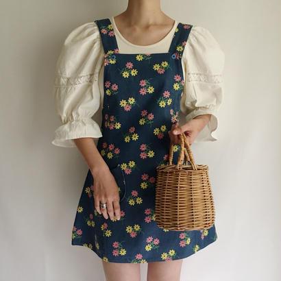 Euro Vintage Flower Print Mini Dress