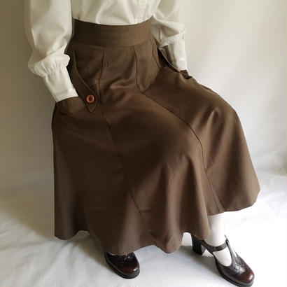 Euro Vintage Brown Flare Midi Skirt
