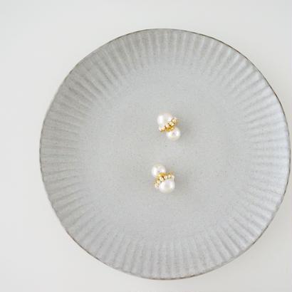 大粒コットンパールピアス/パールキャッチ付き