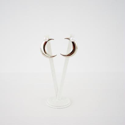 Twinkle Twinkle Moon earrings silver / ハンドメイドアクセサリ
