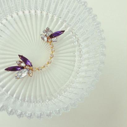 Vintage purple glass ear cuff《片耳》