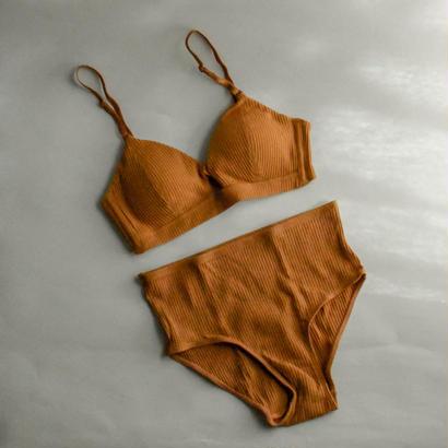 Stretch cotton bralette set up ( High-waist pants )