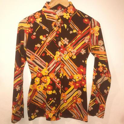 【Used】ブラウンフラワーシャツ