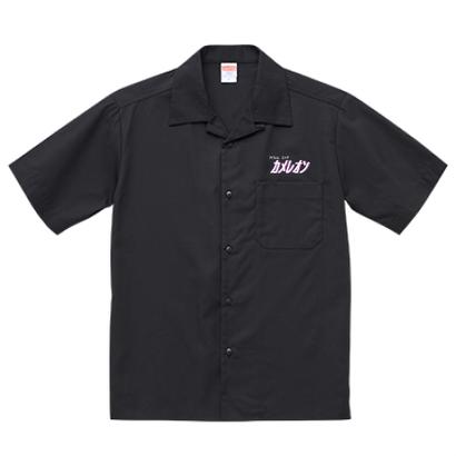ロゴ オープンカラーシャツ