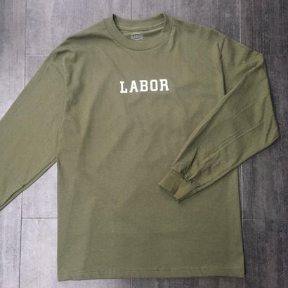 LABOR WORDMARK L/S TEE MILITARY GREEN