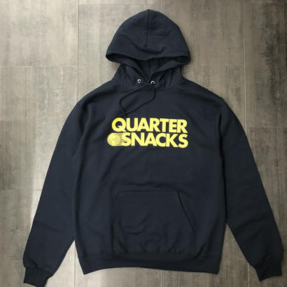 QUARTERSNACKS JOURNALIST LOGO CHAMPION HOODIE NAVY