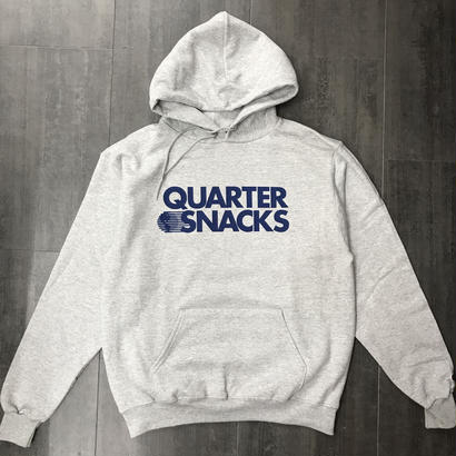 QUARTERSNACKS JOURNALIST LOGO CHAMPION HOODIE HEATHER GRAY
