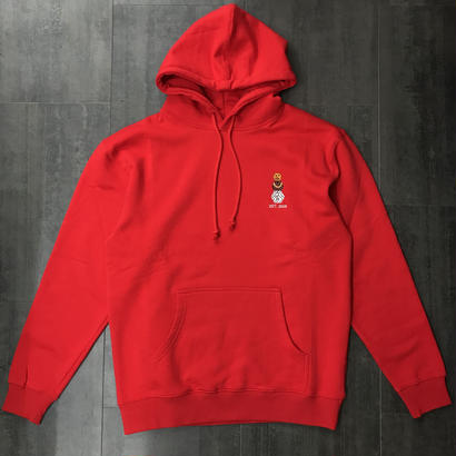 QUARTERSNACKS EMBROYDERED SNACKMAN HOODIE RED