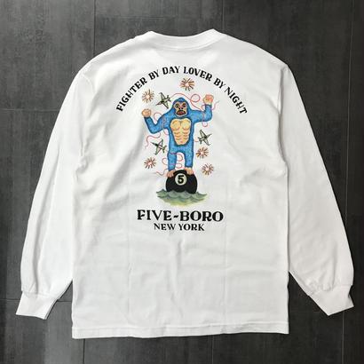 5BORO LOVER FIGHTER L/S TEE WHITE