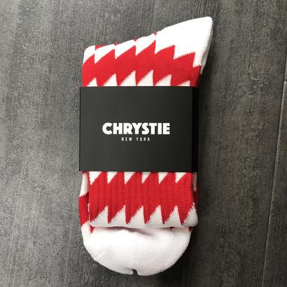 CHRYSTIE NYC X CSC SOCKS WHITE / RED