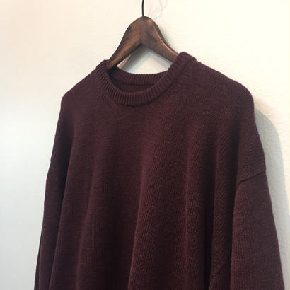 CREPUSCULE クレプスキュール  WHOLE GARMENT L/S KNIT   1703-005 BURGUNDY(N)