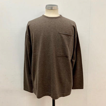 CREPUSCULE クレプスキュール POCKET L/S KNIT BROWN【1703-006】(N)