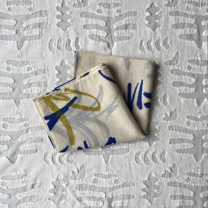 #150 Khadi Leaf Print Bandana (Blue)