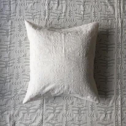 Khadi Cutwork Cushion Cover (Seaweed)