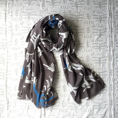 #150 Khadi Leaf Print Big Stole 110×180 (Warm Gray)
