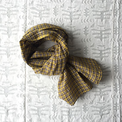 #100 Khadi Panel Plaid Stole (Yellow)